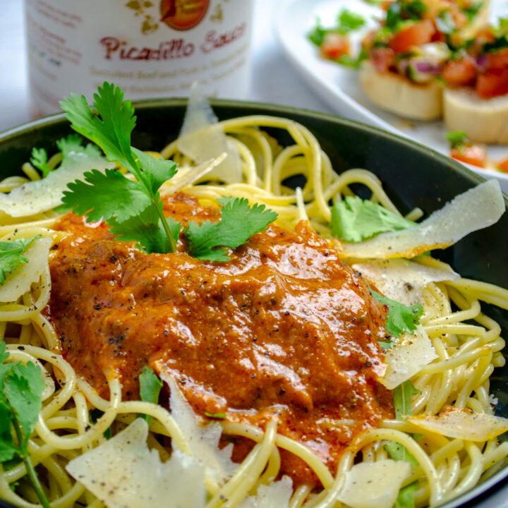 Picadillo sauce Manchego Spaghetti