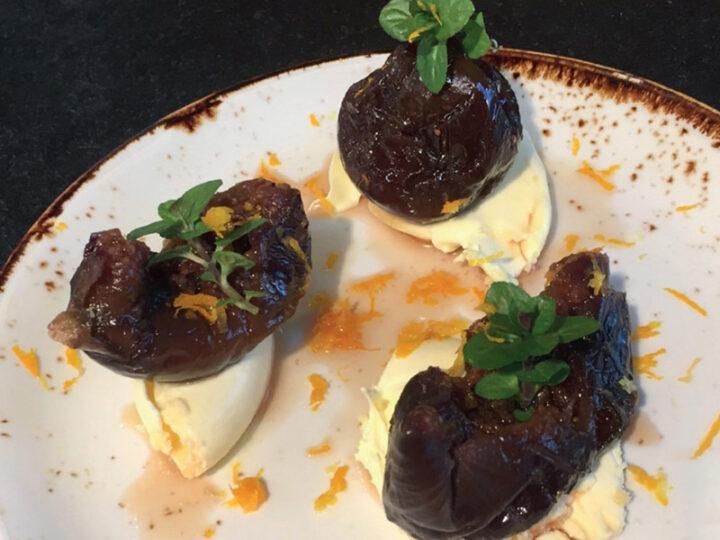 Whole Figs in Marc De Cava Liquor with Clotted Cream & Orange Zest