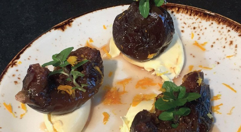 Whole Figs in Marc De Cava Liquor with Clotted Cream & Orange Zest