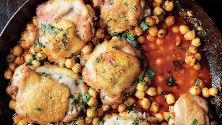 Pna-Roasted Chicken with Harissa & Chickpeas