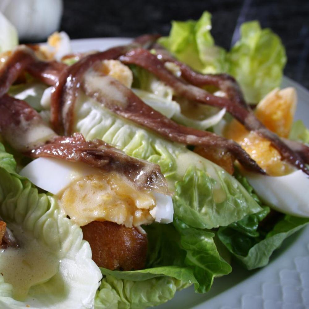 El Capricho Anchovy, Egg, Crouton & Crisp Lettuce Salad with a Creamy Vinaigrette