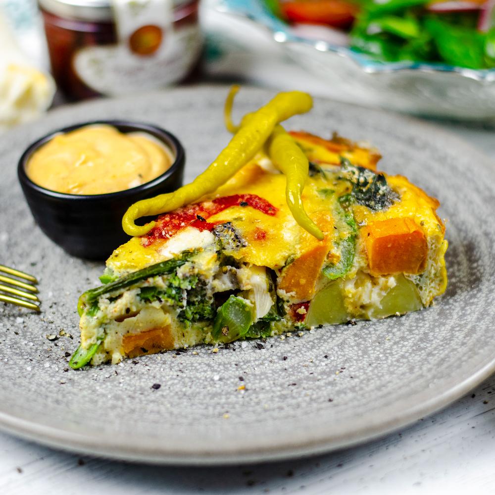Spanish Vegetable Frittata with Harissa Sauce