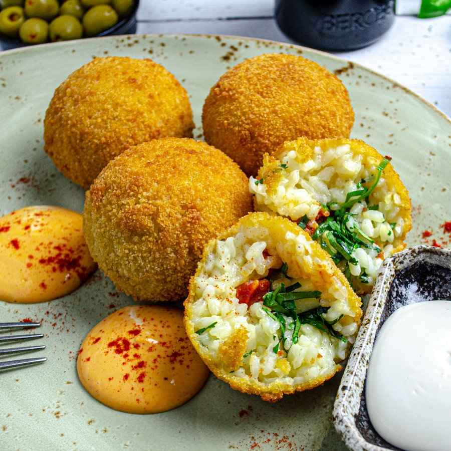 Arancini with Chirizo, Manchego Cheese & Harissa Mayonnaise