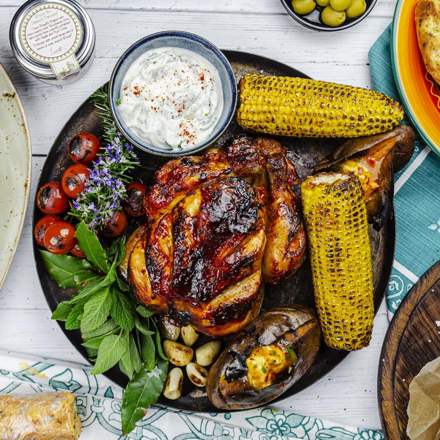 Harissa Roast Chicken, Charred Sweetcorn, Baked Sweet Potato, Aioli, Romesco Chilli Butter