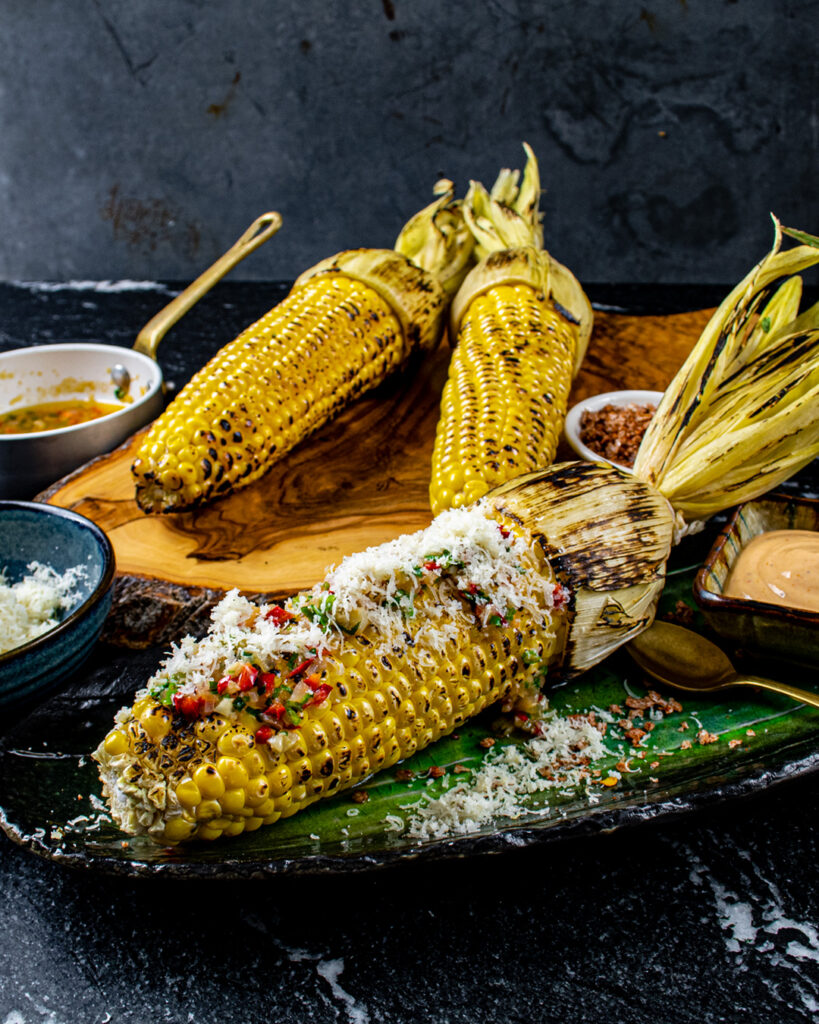 Sweetcorn in the Husk with Manchego and Chilli Butter,Bravas Mayonnaise
