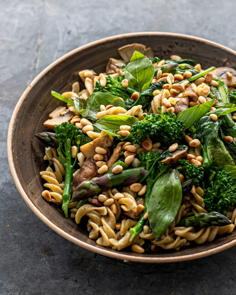 Herb infused Fusilli Vegan Pasta with Summer Greens, Chestnut Mushrooms and Toasted Pine Nuts